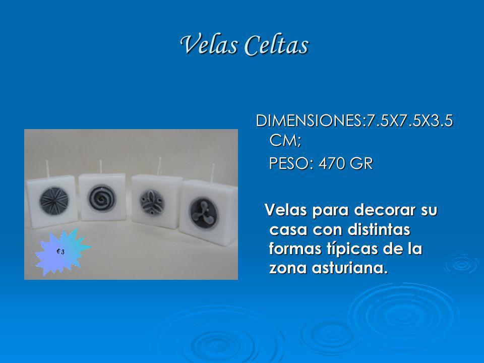 Velas Celtas DIMENSIONES:7.5X7.5X3.5 CM; PESO: 470 GR