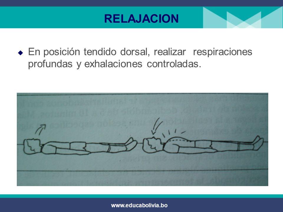 RELAJACION En posición tendido dorsal, realizar respiraciones profundas y exhalaciones controladas.