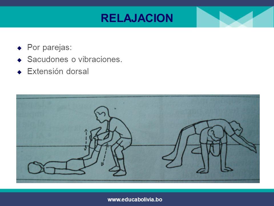 RELAJACION Por parejas: Sacudones o vibraciones. Extensión dorsal