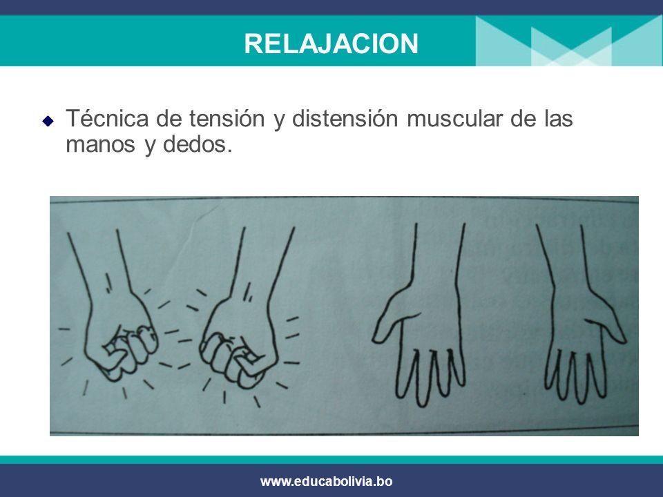 RELAJACION Técnica de tensión y distensión muscular de las manos y dedos. www.educabolivia.bo