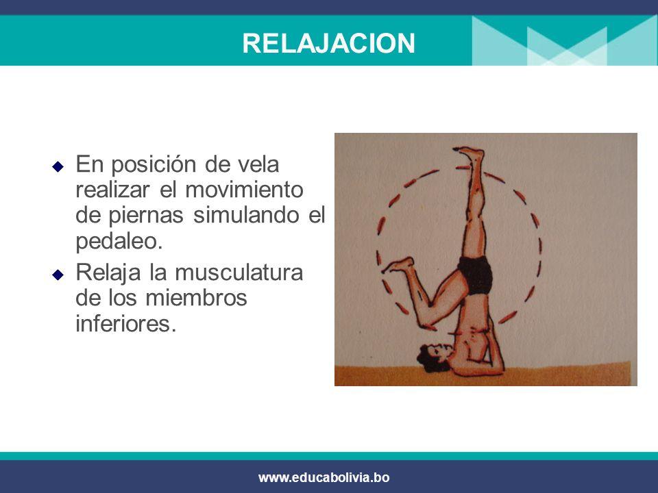 RELAJACION En posición de vela realizar el movimiento de piernas simulando el pedaleo. Relaja la musculatura de los miembros inferiores.