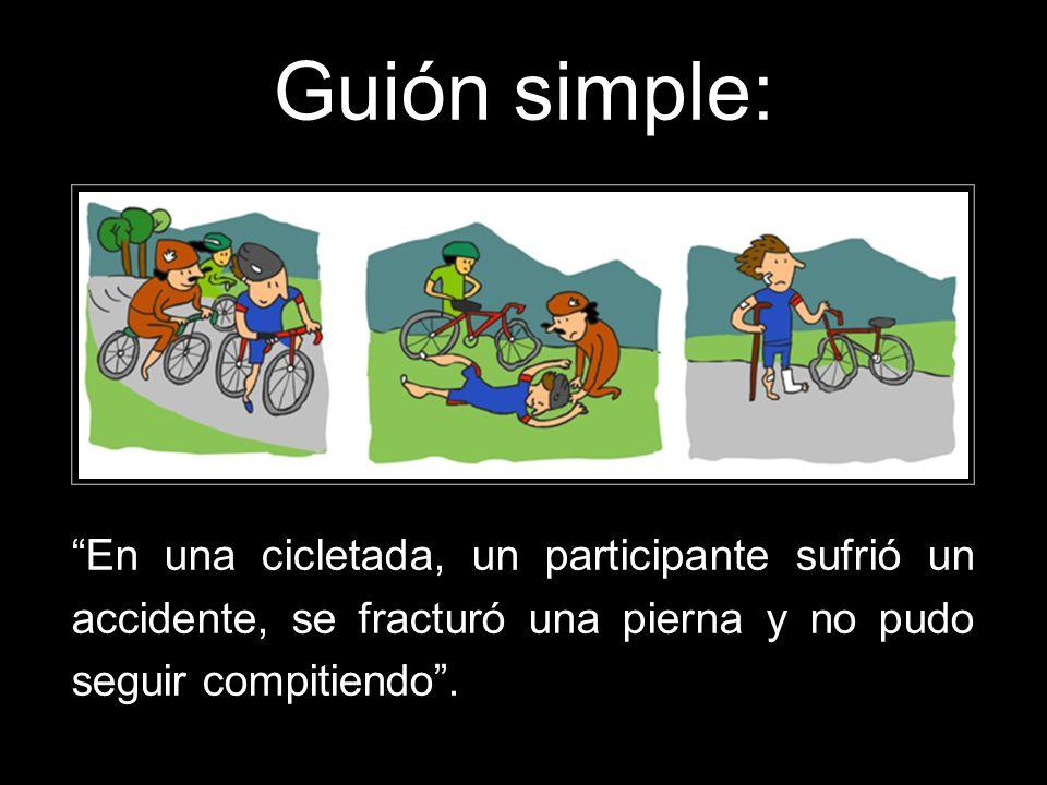 Guión simple: En una cicletada, un participante sufrió un accidente, se fracturó una pierna y no pudo seguir compitiendo .