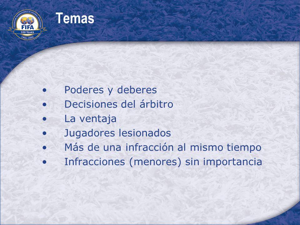 Temas Poderes y deberes Decisiones del árbitro La ventaja