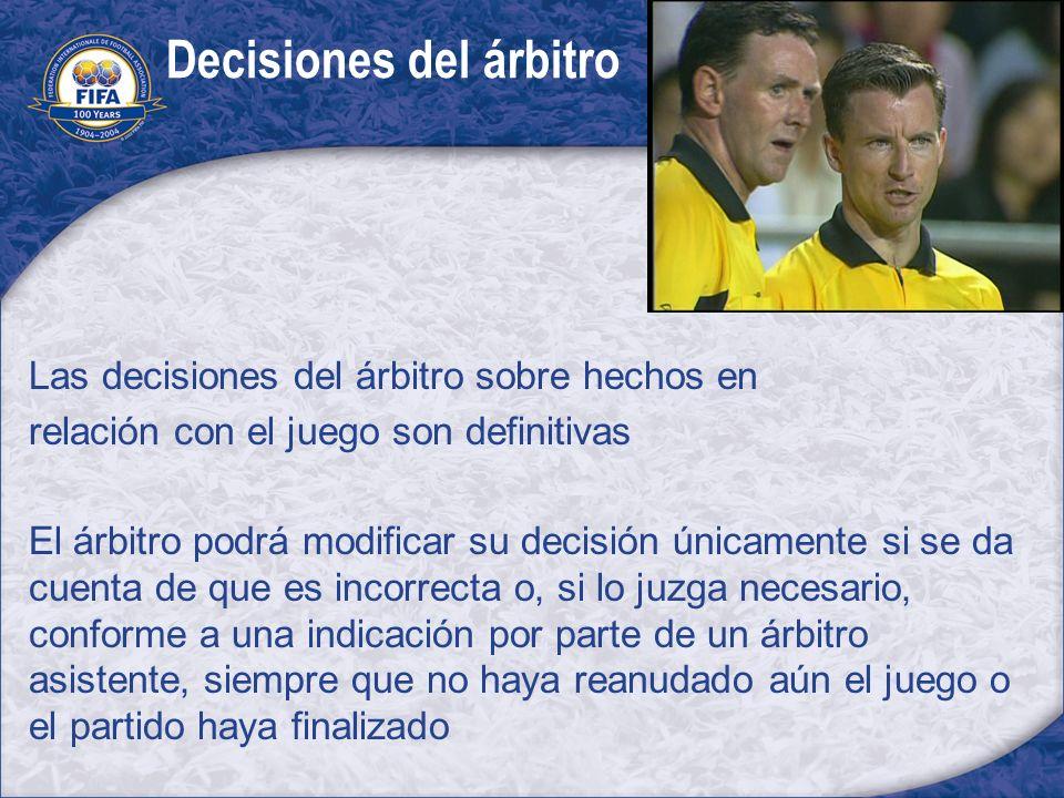 Decisiones del árbitro