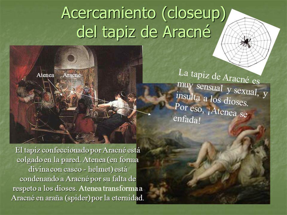 Acercamiento (closeup) del tapiz de Aracné