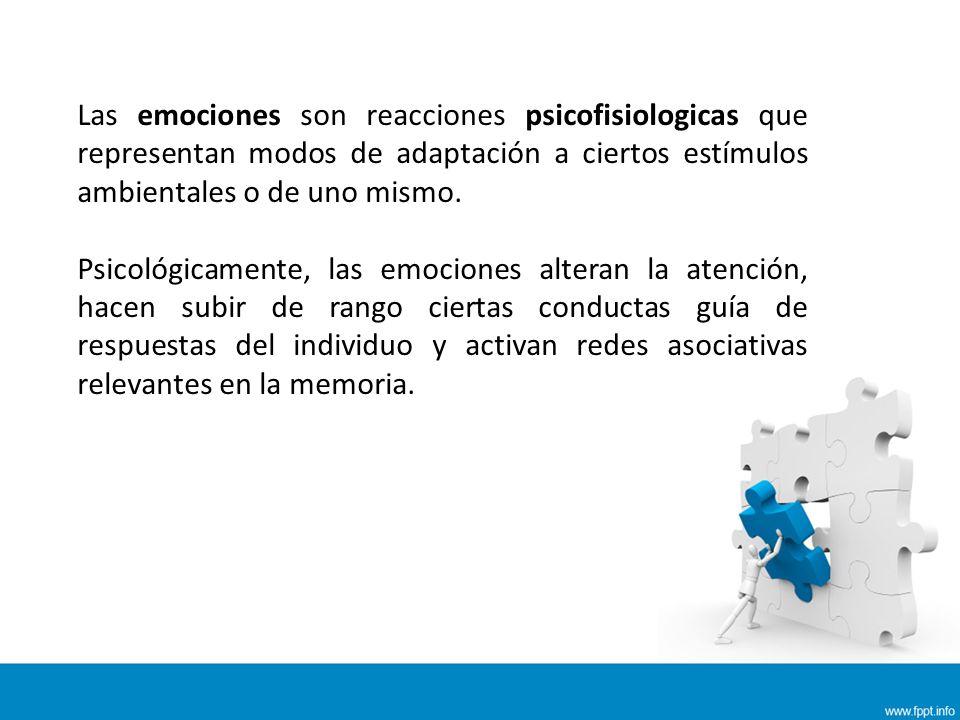 Las emociones son reacciones psicofisiologicas que representan modos de adaptación a ciertos estímulos ambientales o de uno mismo.