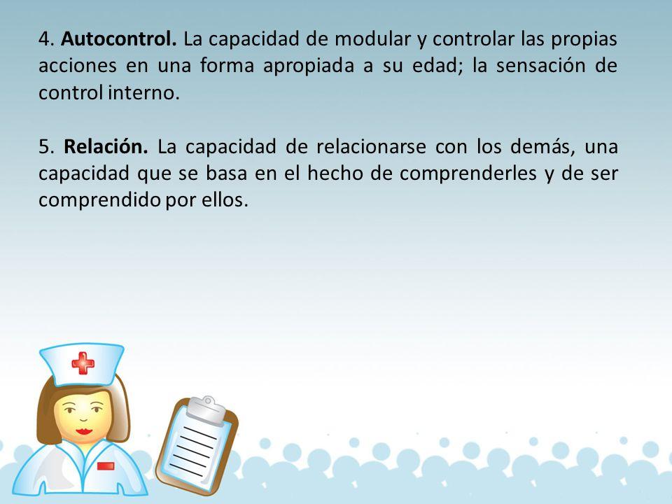 4. Autocontrol. La capacidad de modular y controlar las propias acciones en una forma apropiada a su edad; la sensación de control interno.