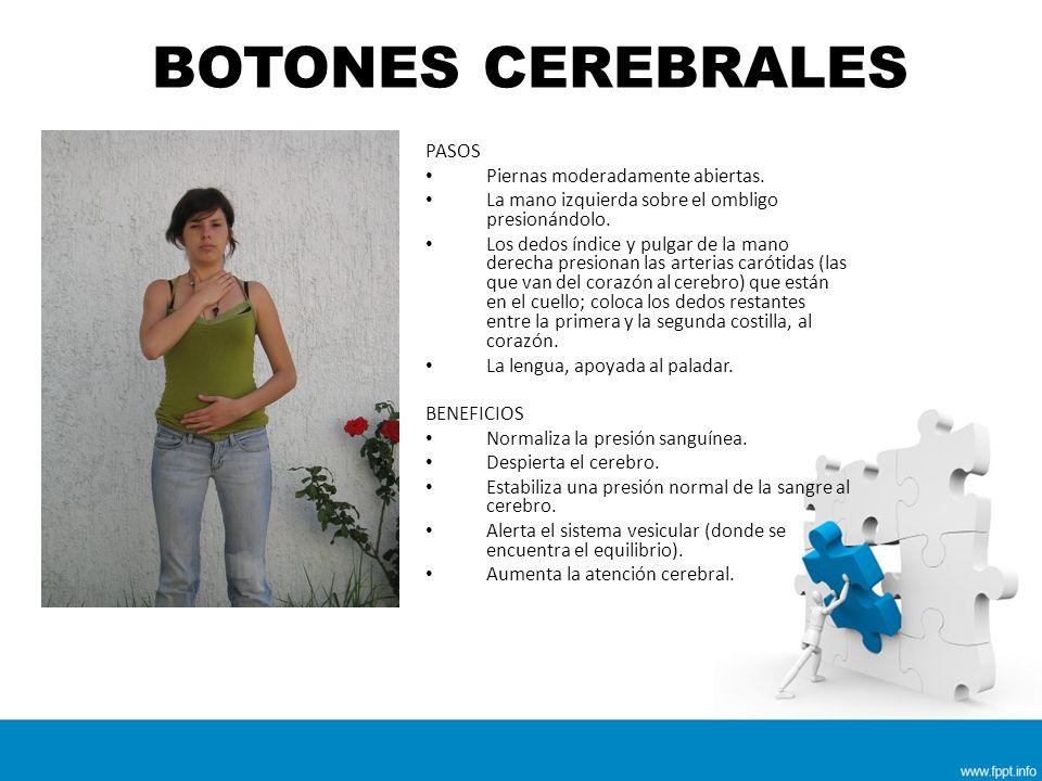 BOTONES CEREBRALES PASOS Piernas moderadamente abiertas.