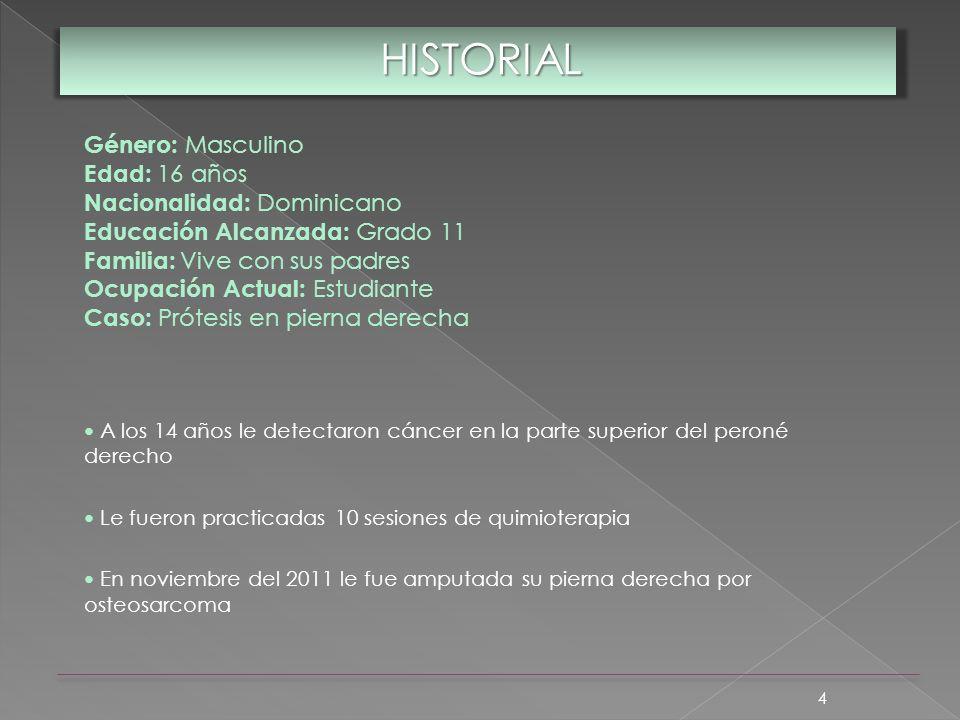HISTORIAL Género: Masculino Edad: 16 años Nacionalidad: Dominicano