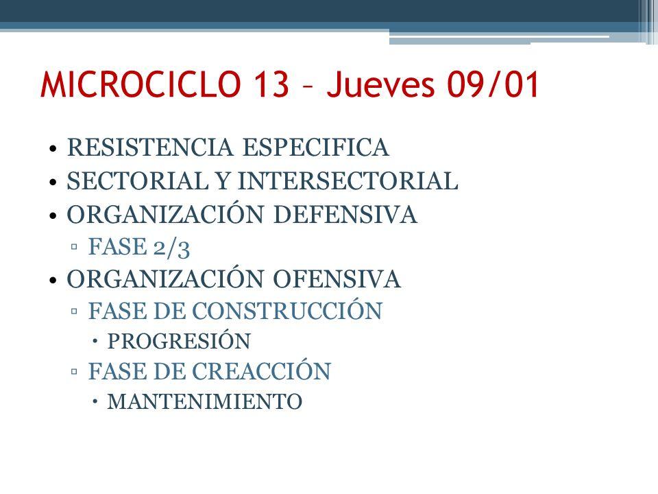 MICROCICLO 13 – Jueves 09/01 RESISTENCIA ESPECIFICA