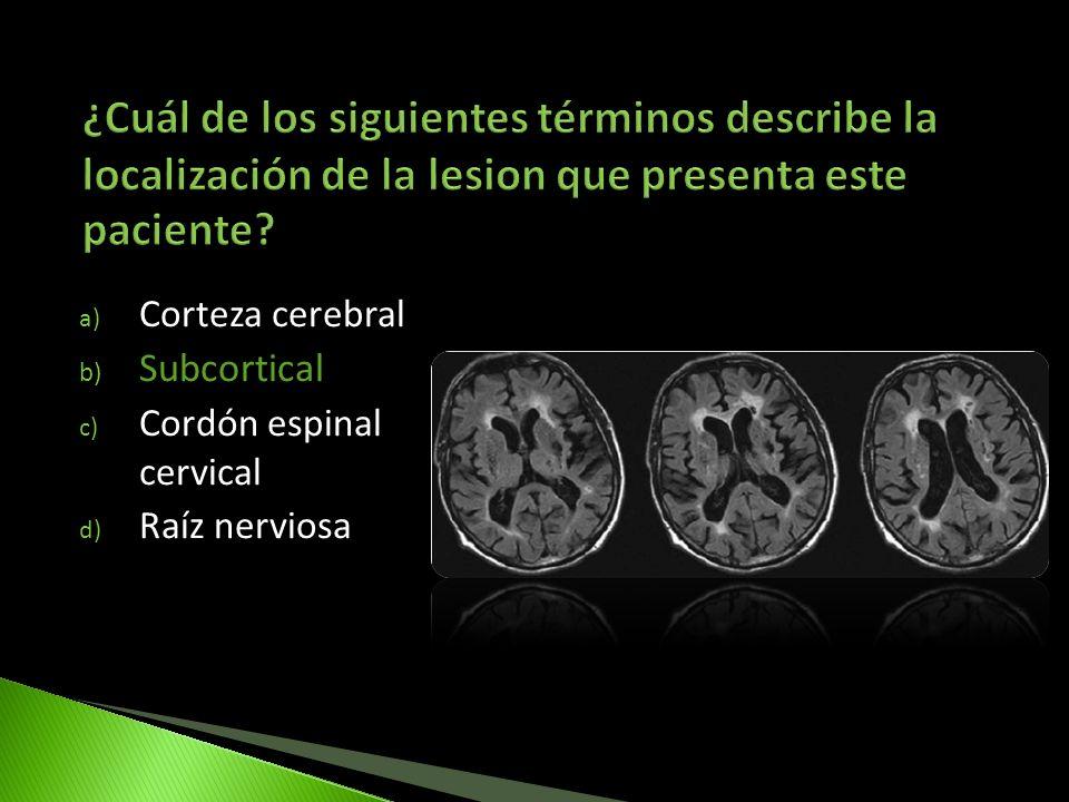 ¿Cuál de los siguientes términos describe la localización de la lesion que presenta este paciente
