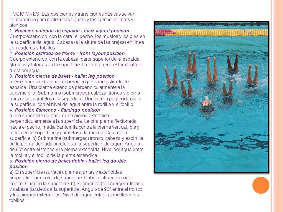 POCICIONES: Las posiciones y transiciones básicas se van combinando para realizar las figuras y los ejercicios libres y técnicos.