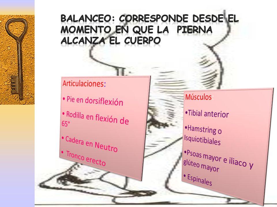 BALANCEO: Corresponde desde el momento en que la pierna alcanza el cuerpo