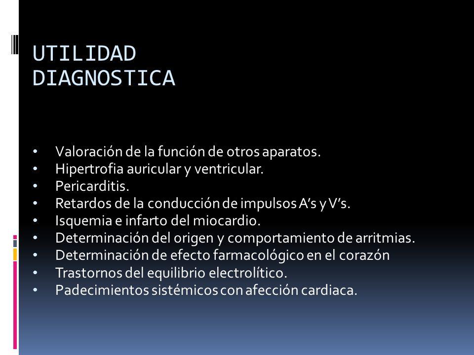 UTILIDAD DIAGNOSTICA Valoración de la función de otros aparatos.