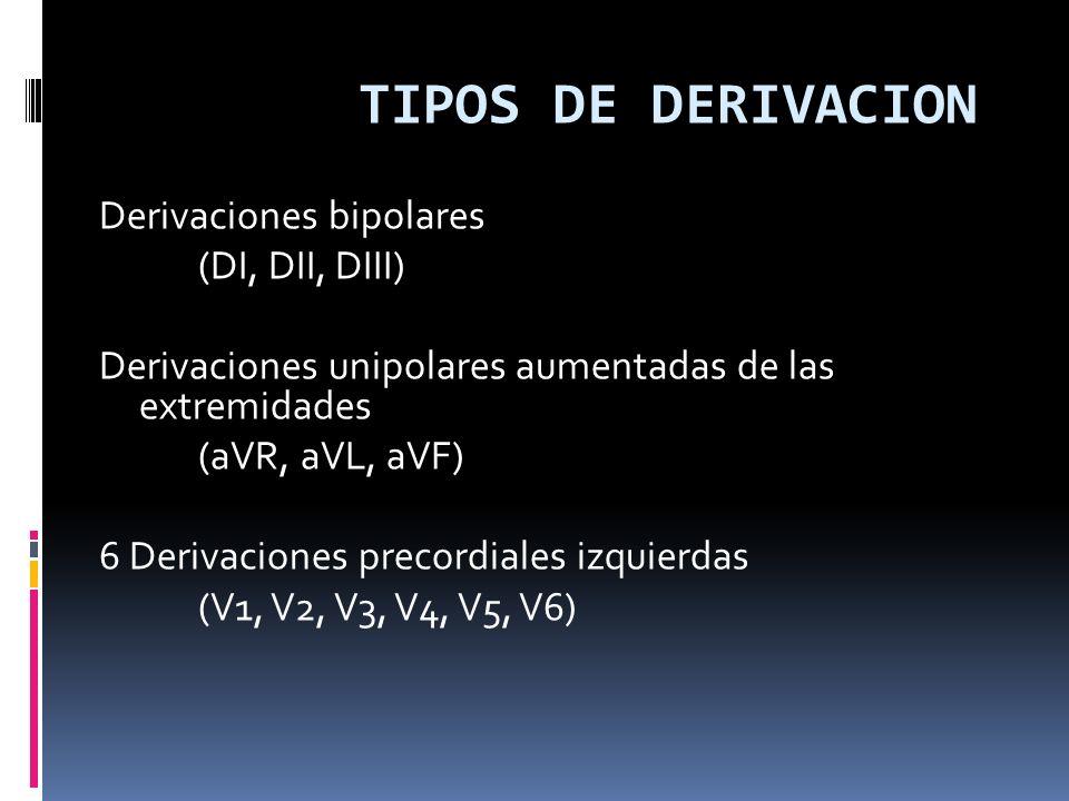 TIPOS DE DERIVACION Derivaciones bipolares (DI, DII, DIII)