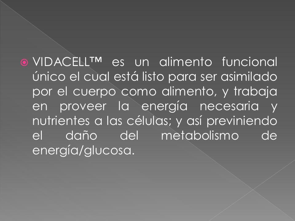 VIDACELL™ es un alimento funcional único el cual está listo para ser asimilado por el cuerpo como alimento, y trabaja en proveer la energía necesaria y nutrientes a las células; y así previniendo el daño del metabolismo de energía/glucosa.