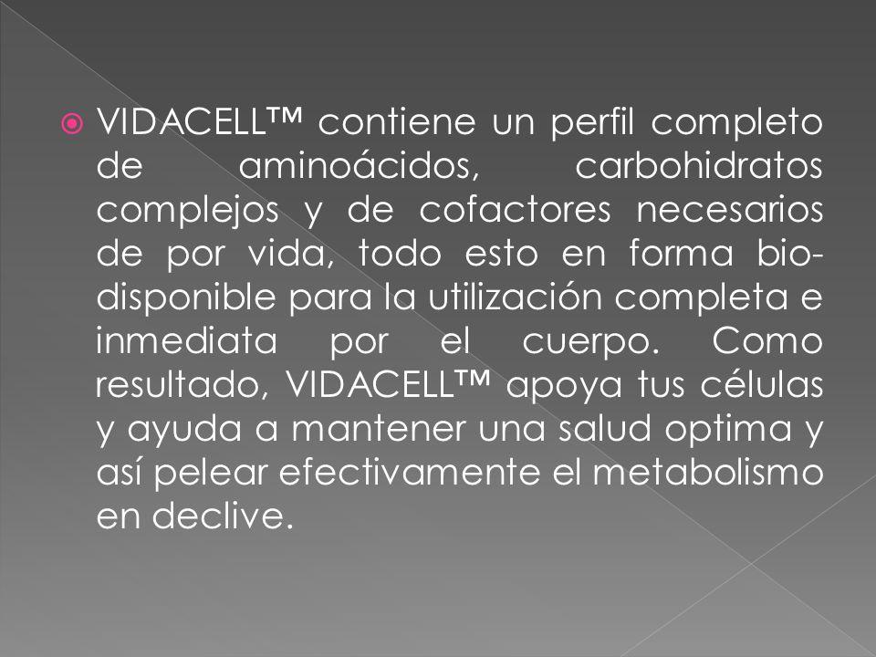 VIDACELL™ contiene un perfil completo de aminoácidos, carbohidratos complejos y de cofactores necesarios de por vida, todo esto en forma bio-disponible para la utilización completa e inmediata por el cuerpo.