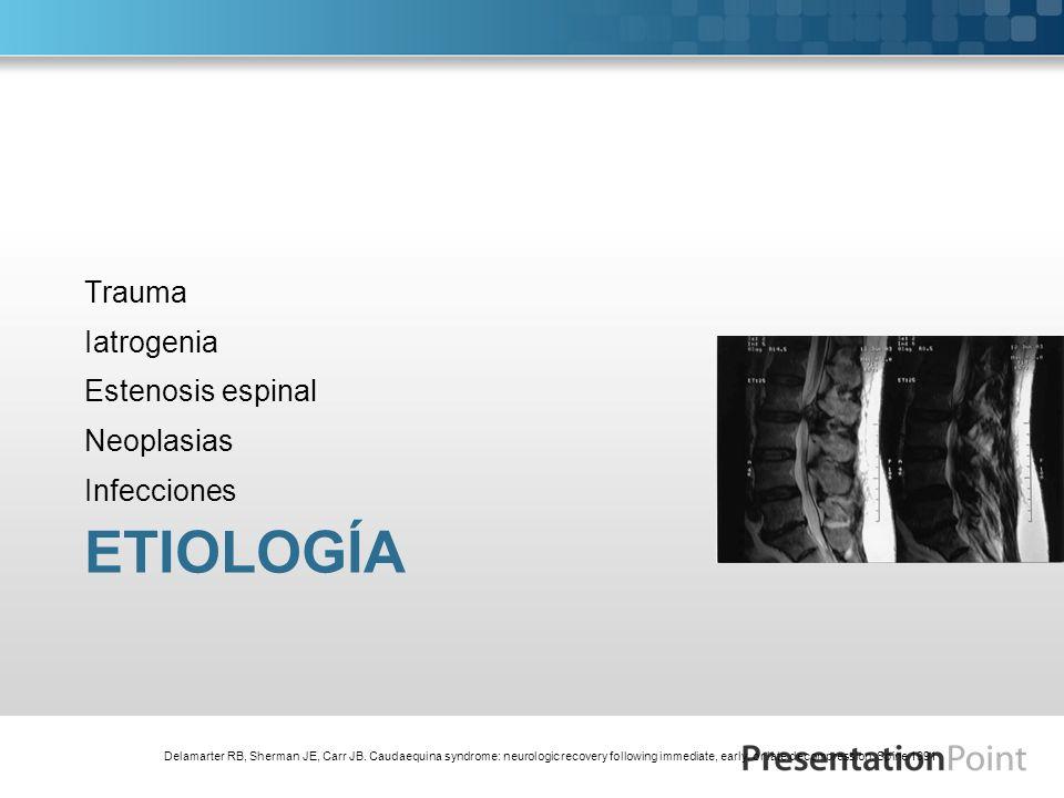 Etiología Trauma Iatrogenia Estenosis espinal Neoplasias Infecciones