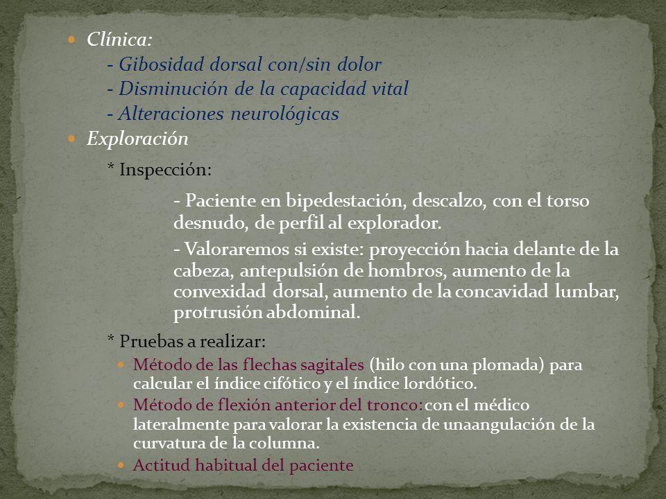Clínica: - Gibosidad dorsal con/sin dolor. - Disminución de la capacidad vital. - Alteraciones neurológicas.
