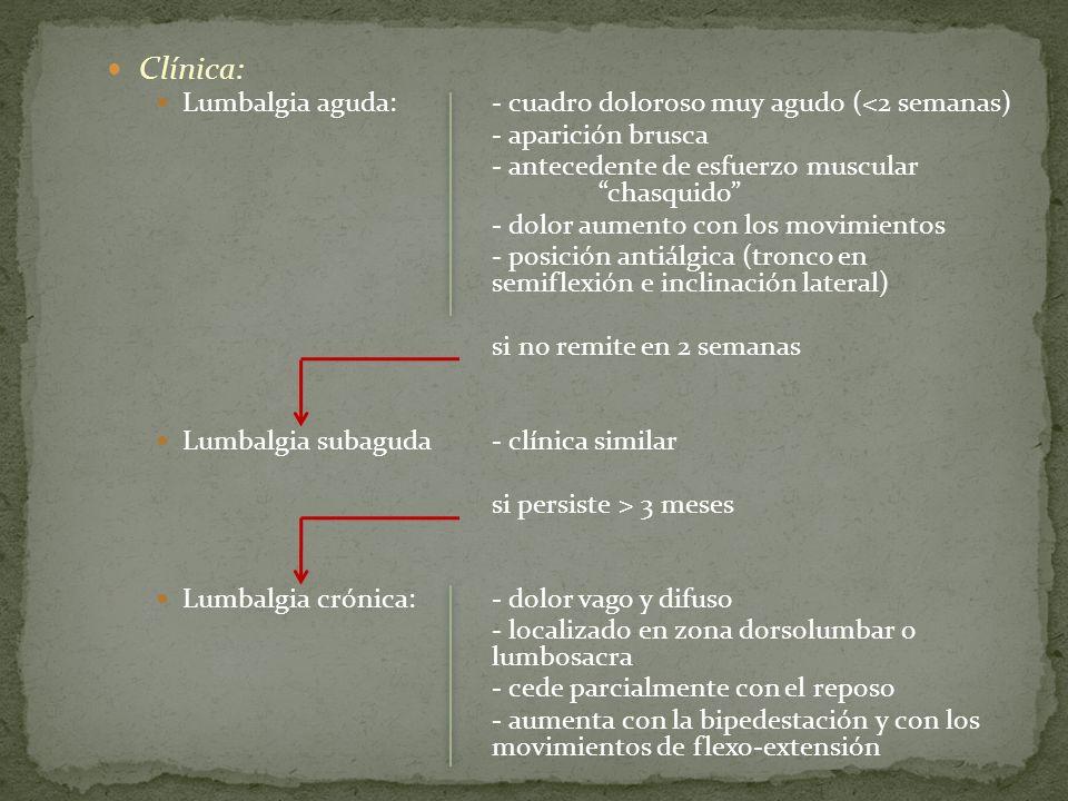 Clínica: Lumbalgia aguda: - cuadro doloroso muy agudo (<2 semanas)