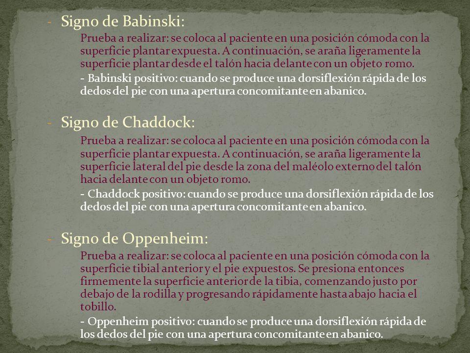 Signo de Babinski: Signo de Chaddock: Signo de Oppenheim: