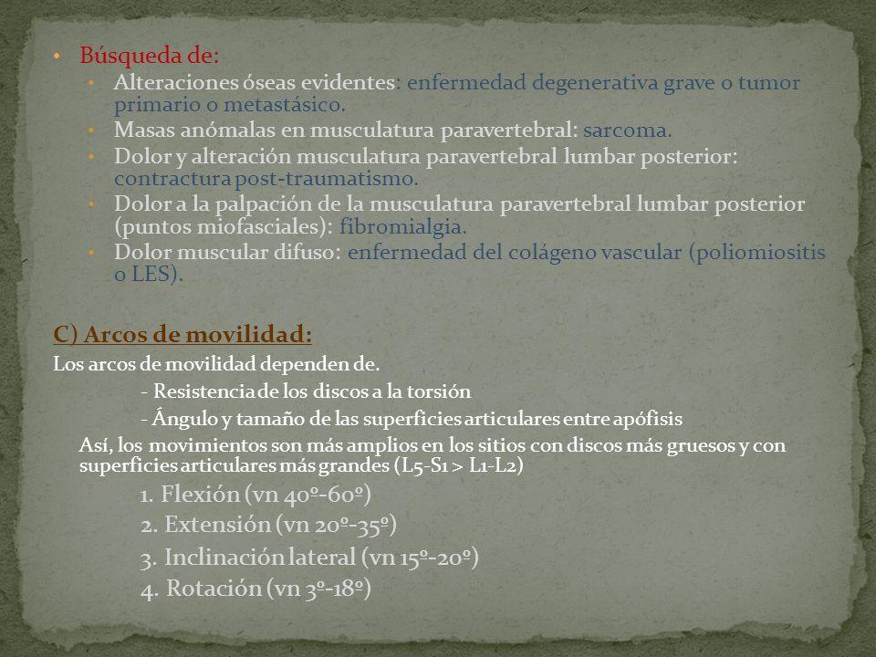 3. Inclinación lateral (vn 15º-20º) 4. Rotación (vn 3º-18º)