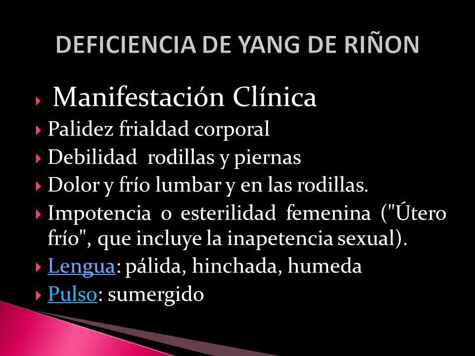 DEFICIENCIA DE YANG DE RIÑON
