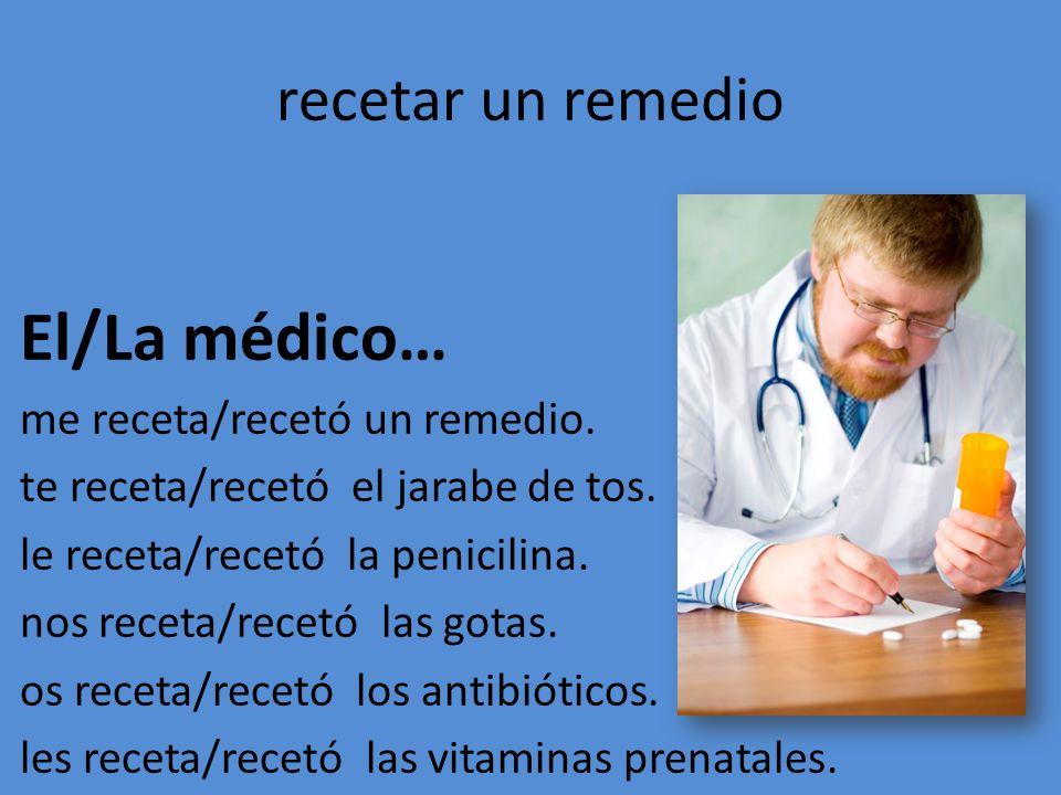 El/La médico… recetar un remedio me receta/recetó un remedio.