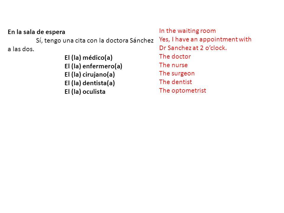 En la sala de espera Sí, tengo una cita con la doctora Sánchez a las dos. El (la) médico(a) El (la) enfermero(a)