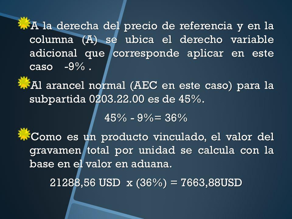 A la derecha del precio de referencia y en la columna (A) se ubica el derecho variable adicional que corresponde aplicar en este caso -9% .