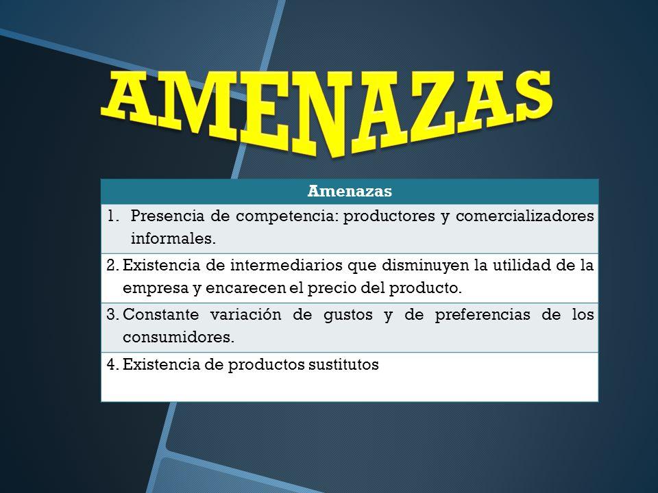 AMENAZAS Amenazas. Presencia de competencia: productores y comercializadores informales.
