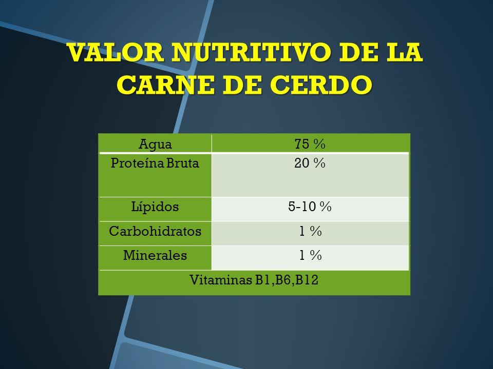 VALOR NUTRITIVO DE LA CARNE DE CERDO
