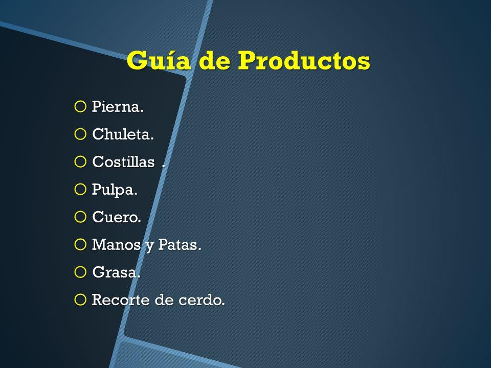 Guía de Productos Pierna. Chuleta. Costillas . Pulpa. Cuero.