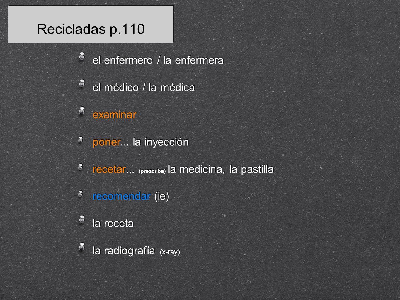 Recicladas p.110 el enfermero / la enfermera el médico / la médica