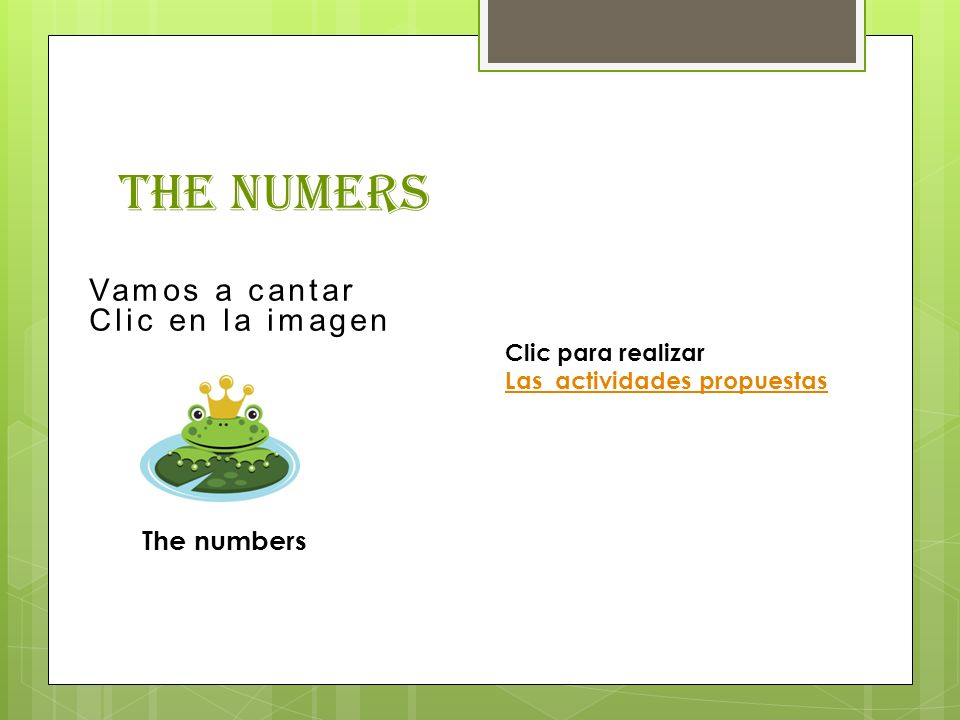 The numers Vamos a cantar Clic en la imagen The numbers