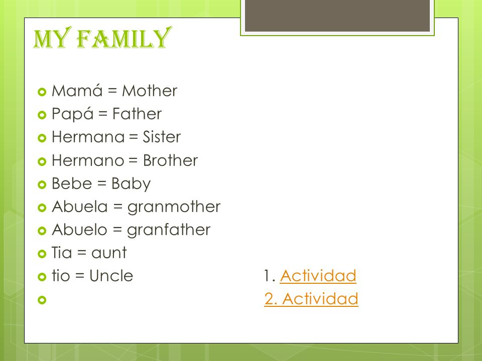 My Family Mamá = Mother Papá = Father Hermana = Sister