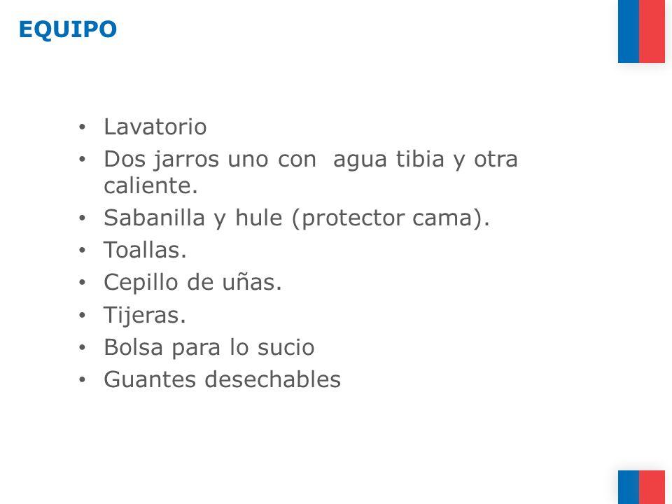 EQUIPO Lavatorio. Dos jarros uno con agua tibia y otra caliente. Sabanilla y hule (protector cama).