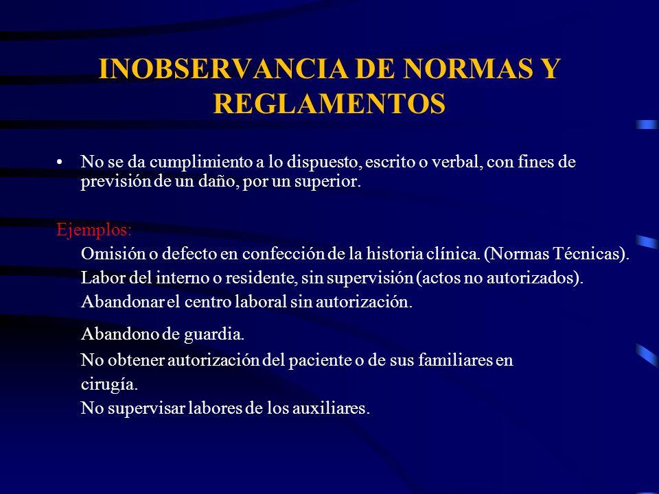 INOBSERVANCIA DE NORMAS Y REGLAMENTOS