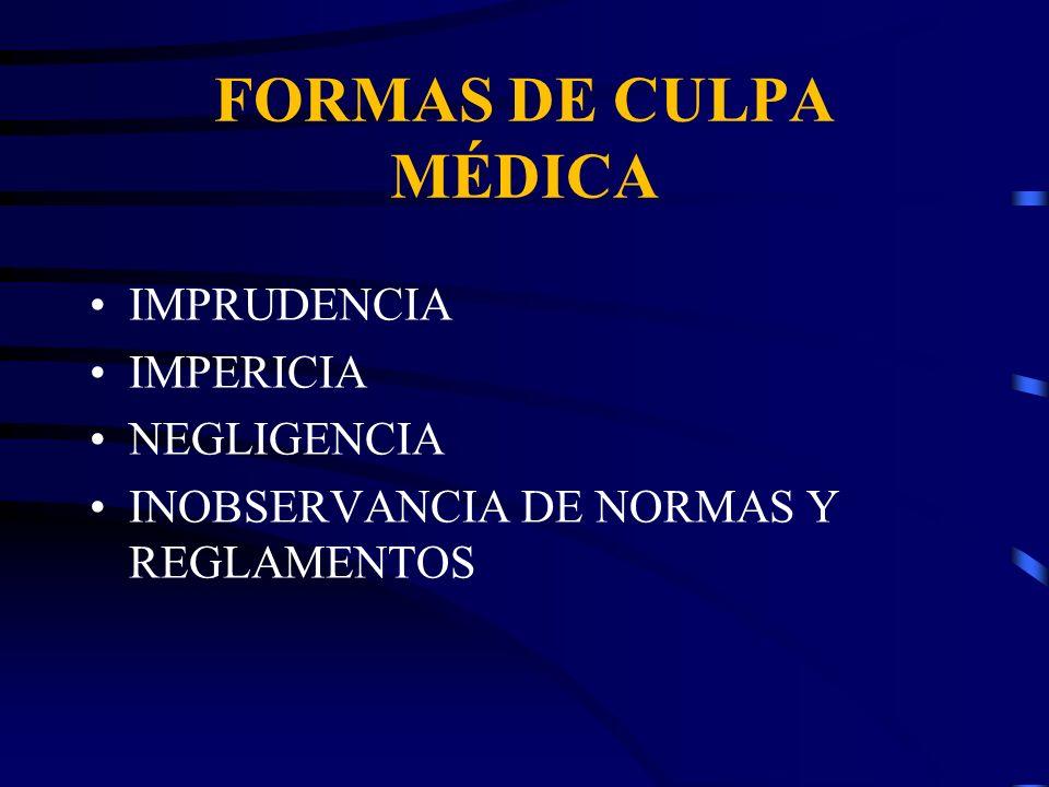 FORMAS DE CULPA MÉDICA IMPRUDENCIA IMPERICIA NEGLIGENCIA