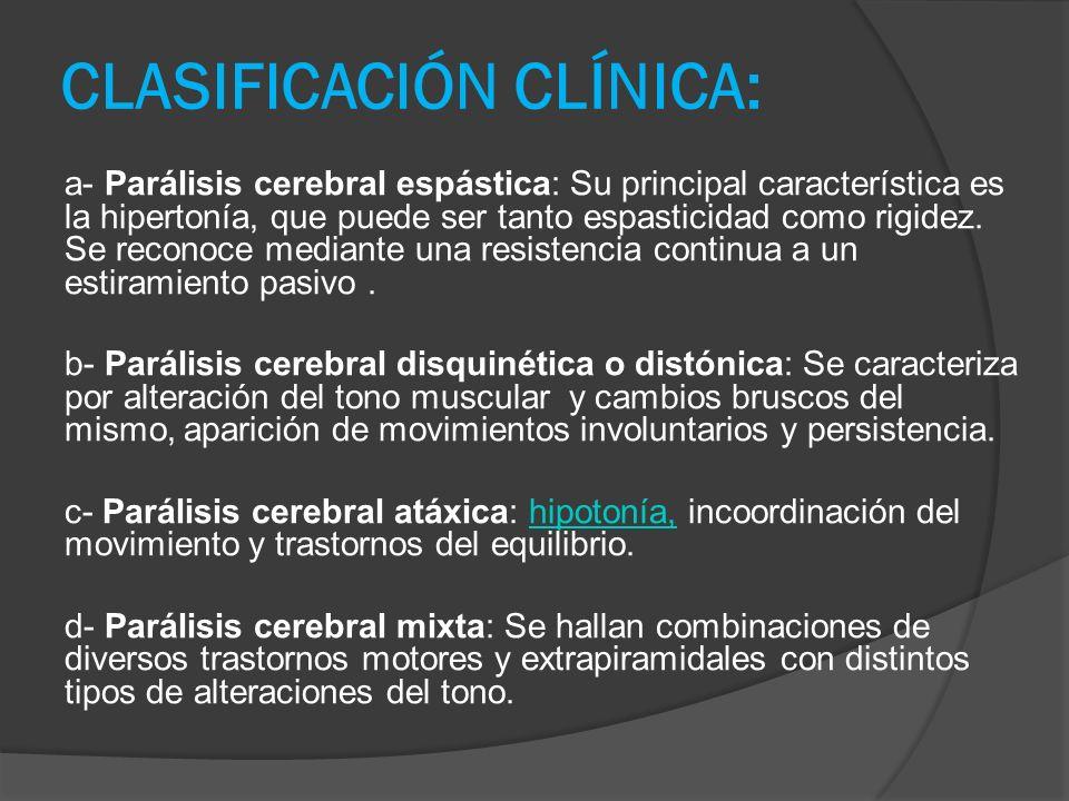 CLASIFICACIÓN CLÍNICA: