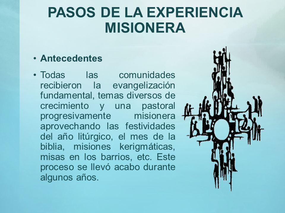 PASOS DE LA EXPERIENCIA MISIONERA