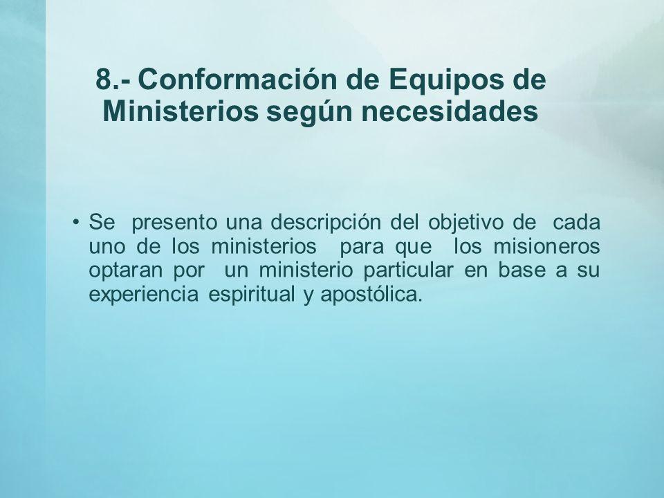 8.- Conformación de Equipos de Ministerios según necesidades