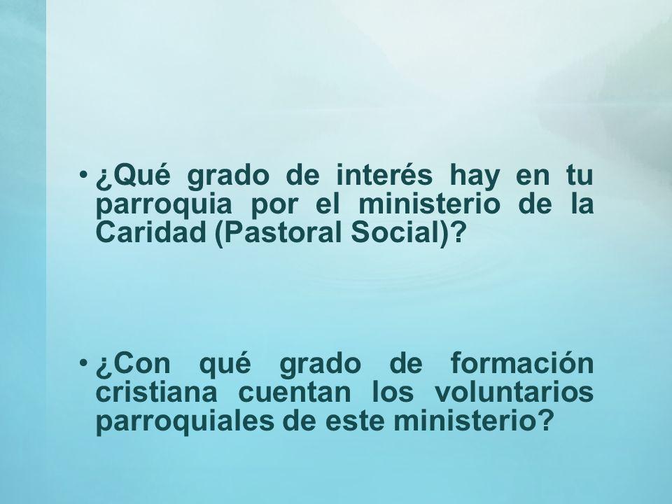 ¿Qué grado de interés hay en tu parroquia por el ministerio de la Caridad (Pastoral Social)