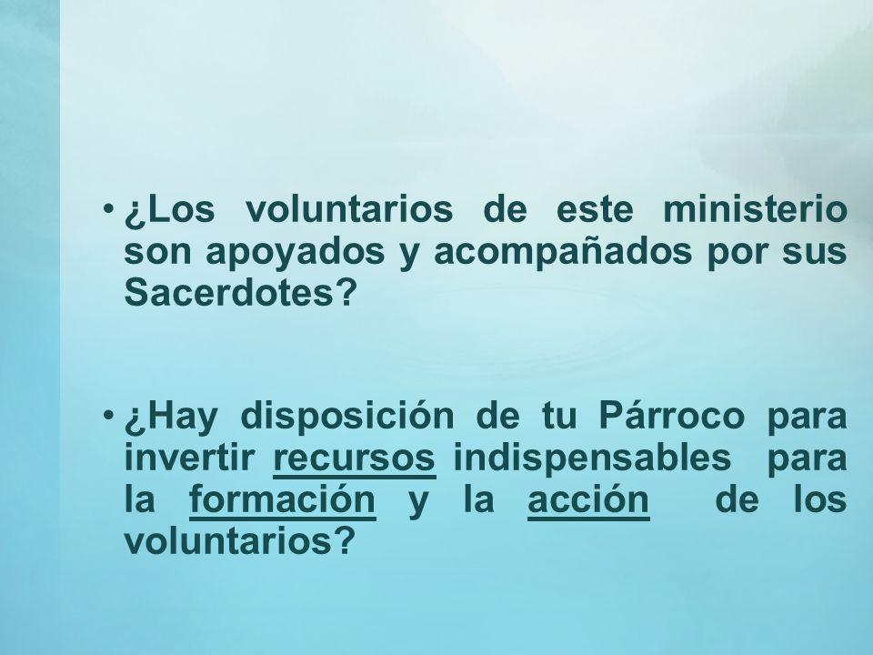 ¿Los voluntarios de este ministerio son apoyados y acompañados por sus Sacerdotes