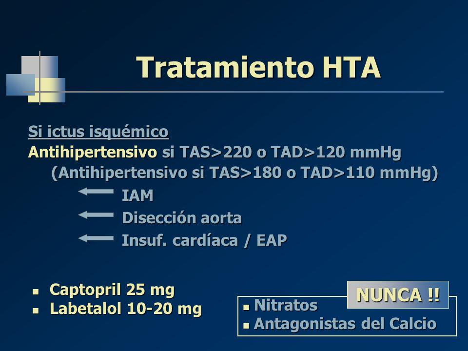 Tratamiento HTA NUNCA !! Si ictus isquémico