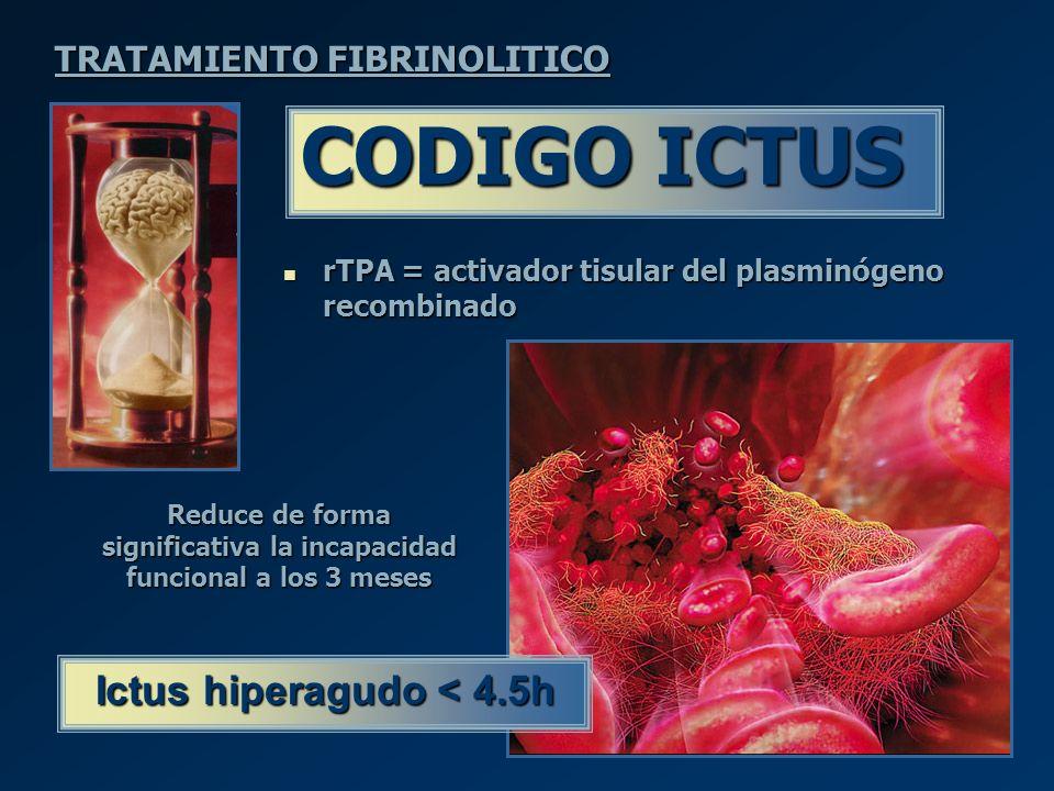 CODIGO ICTUS Ictus hiperagudo < 4.5h TRATAMIENTO FIBRINOLITICO
