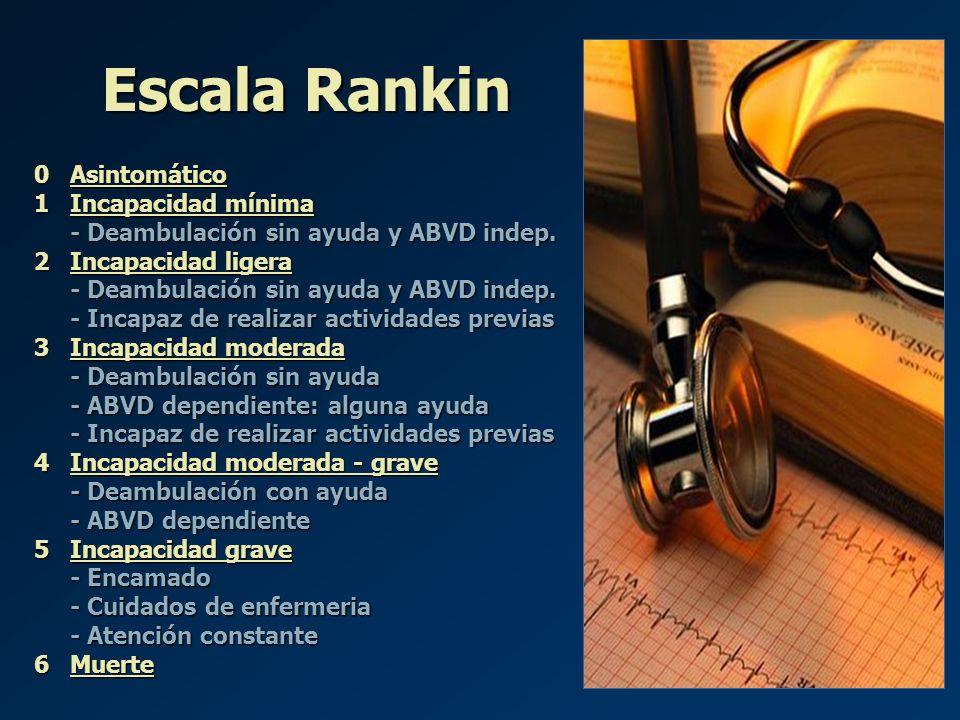 Escala Rankin 0 Asintomático 1 Incapacidad mínima