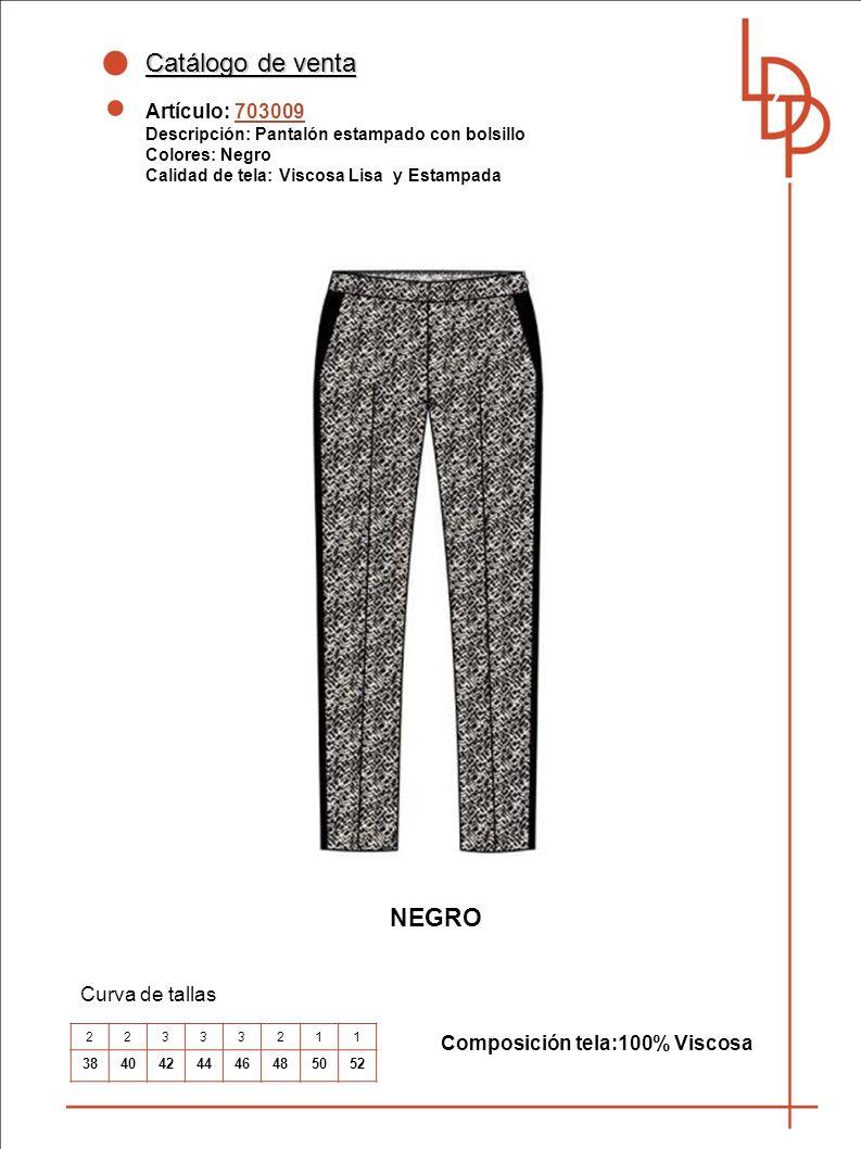 Catálogo de venta NEGRO Artículo: 703009 Curva de tallas