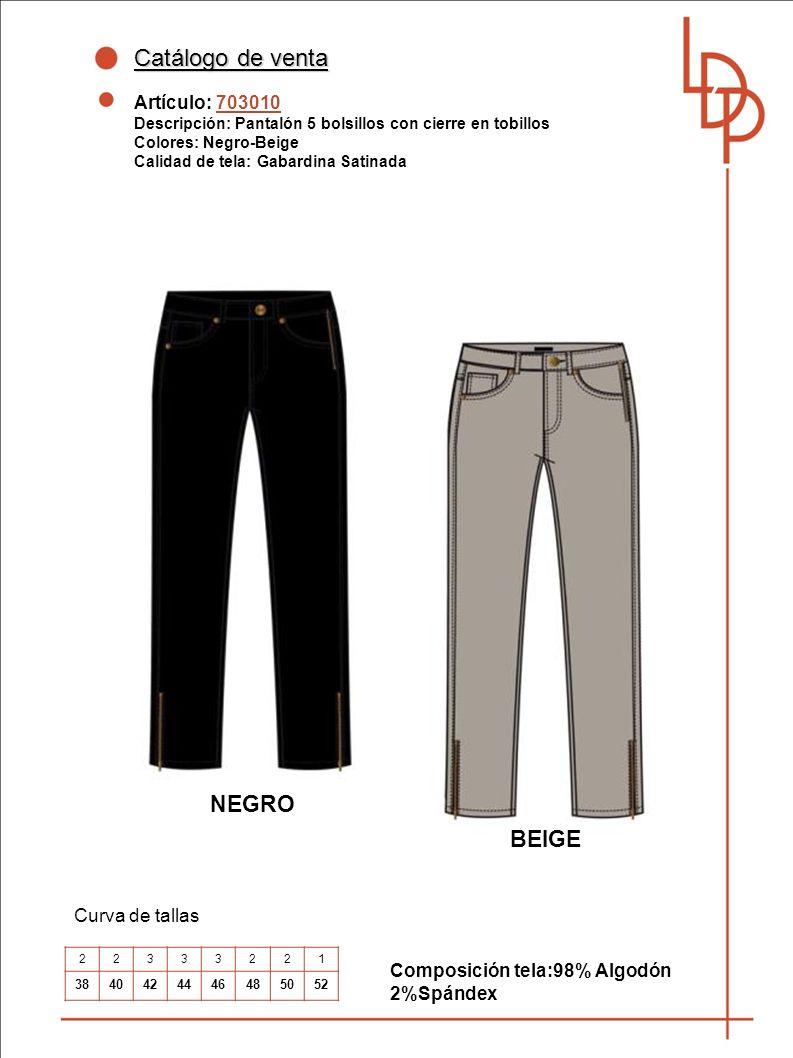 Catálogo de venta NEGRO BEIGE Artículo: 703010 Curva de tallas
