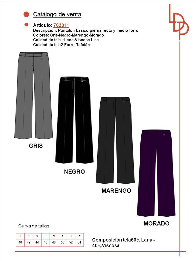 Catálogo de venta GRIS NEGRO MARENGO MORADO Artículo: 703011